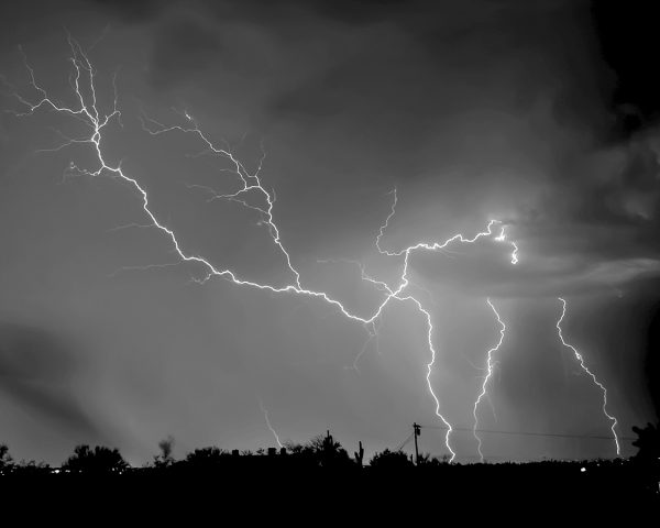 Arizona monsoon lightning black and white