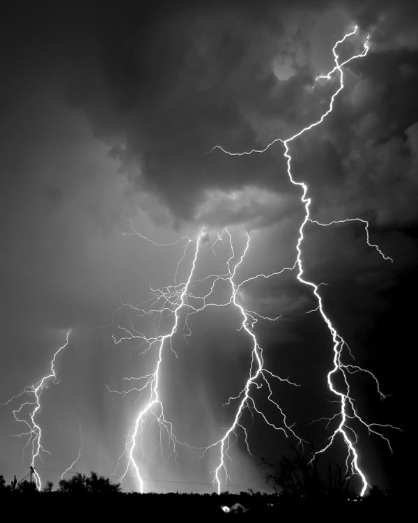 Arizona monsoon lightning black and white