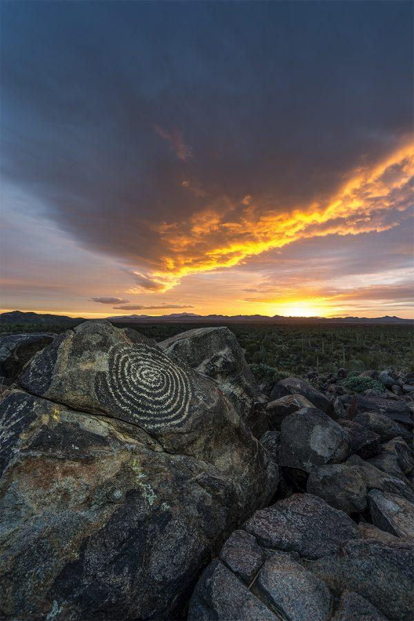 Signal hill petroglyph Tucson arizona sunset