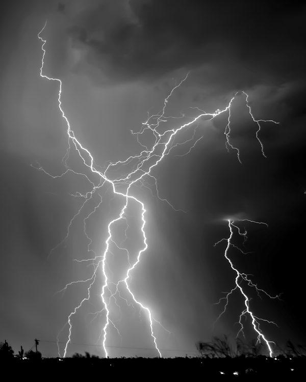 Arizona monsoon lightning x black and white